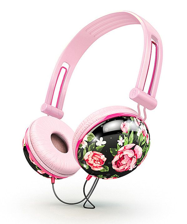 Black & Pink Floral Fat Bass Headphones