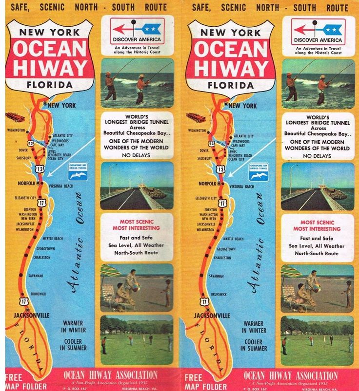 Vtg Map Travel Brochure Ocean Hiway New York Florida 1966 Pictures Highway 13 17