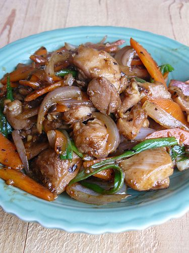 Stir-Fried Chicken with Black Bean Sauce  You can go low-fat by using chicken breast but why not use chicken thigh and enjoy a smaller portion? I've halved this recipe and it was just fine!