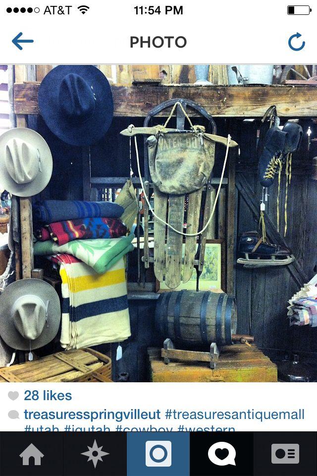Cabin fishing lanterns blankets western primitive @ Treasures Antique Mall 1055n 2000 w Springville Utah