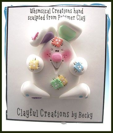 Becky's Polymer Clay  White Chubby Bunny PIN by clayfulcreations