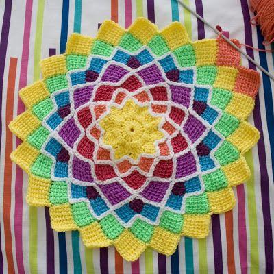 Тунисское вязание. Энтрелак крючком. Вязание по кругу.