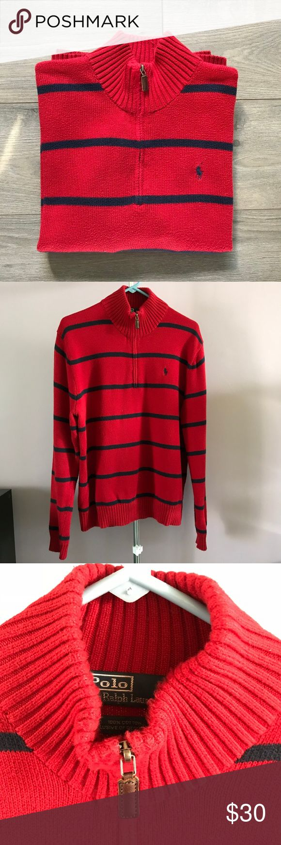 Men's Polo Ralph Lauren Red Half Zip Sweater Sweater has only been worn once and was taken to the dry cleaners - it's like new! No pills or fuzzies. Polo by Ralph Lauren Sweaters Zip Up