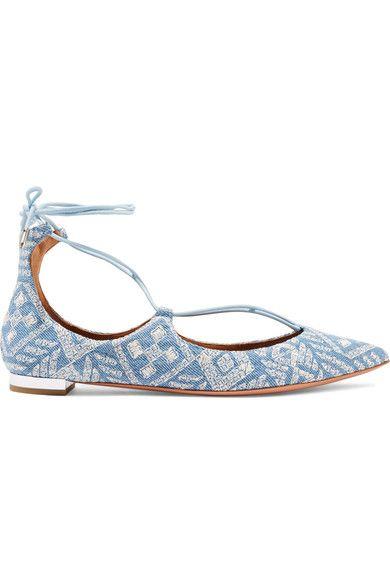 Aquazzura - Christy Embroidered Denim Point-toe Flats - Light denim - IT40.5