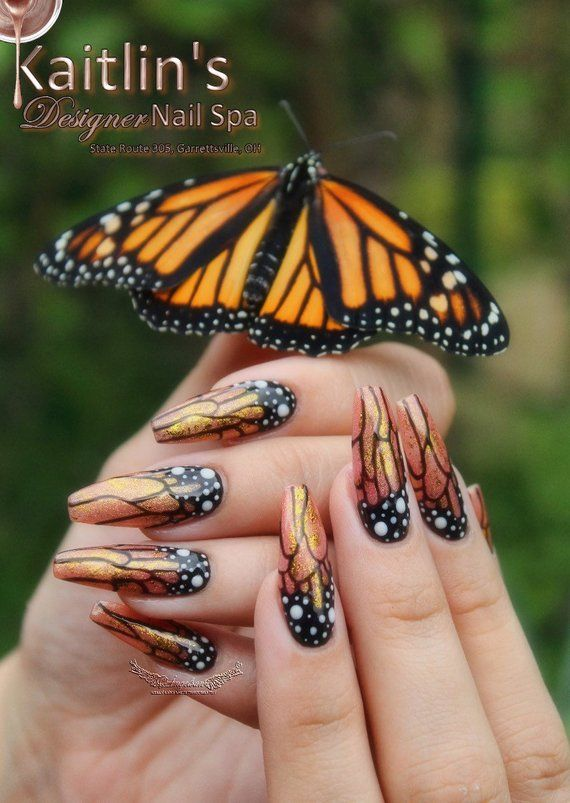 Nails Magazine Top 10 Cover Tech Contest 2019 Fairyland Hand Painted Monarch Butterfly Gel Artificial Nail Art In 2020 Beauty Nails Design Nails Magazine Best Acrylic Nails