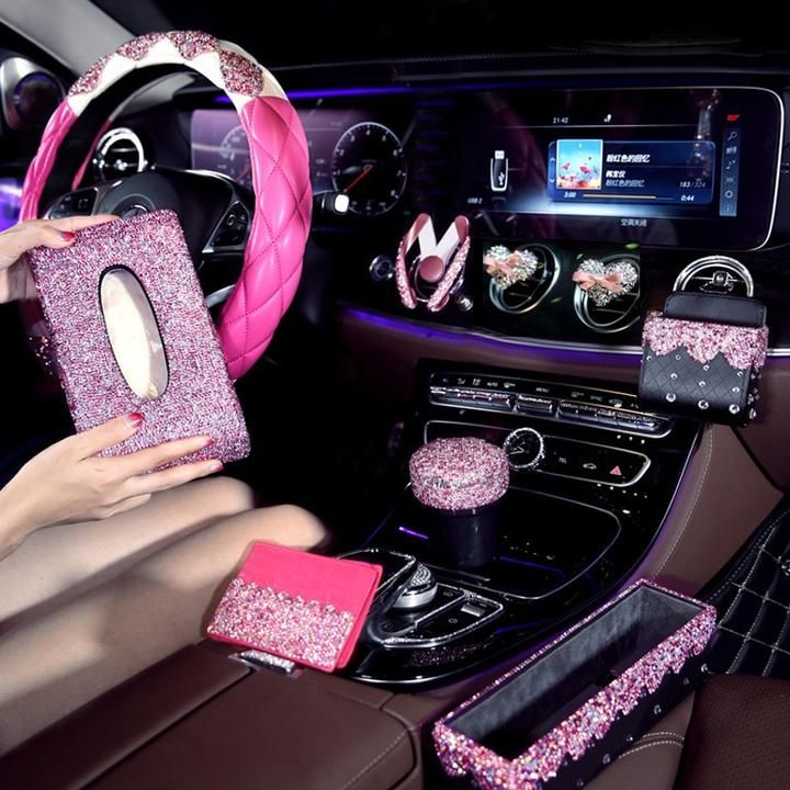 Pink Crystals Car Steeringwheelcover Steeringcovers For Girls Ladies Car Accessories Diamond Ashtray Car Pink Car Interior Car Interior Decor