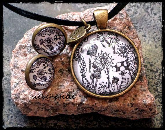 Cabochon-Schmuckset Tangle-WildFlowers inspiriert von Zentangle® .. gezeichnet von SiebenPfeile