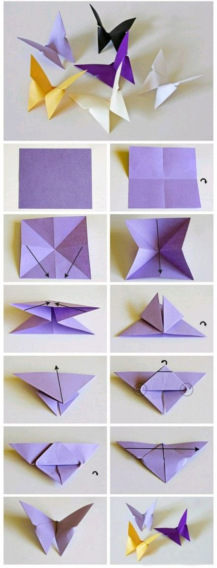 Fold a butterfly with colored paper.