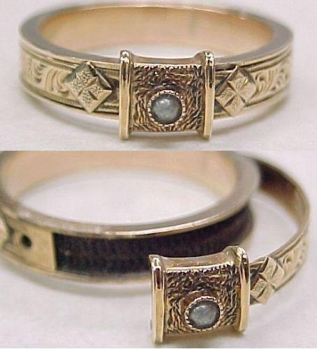 victorian locket mourning ring