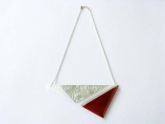Christmas SaleRed Geometric NecklaceAcrylic by SotiriaVasileiou