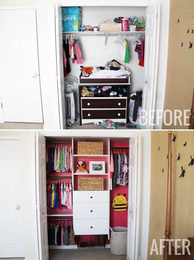 Before And Afters of our daughter's closet.  We maximized the space, added color and lots of organization.