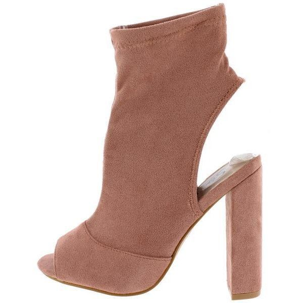 ELIZA153 BLUSH PEEP TOE EXPOSED HEEL CALF BOOTS FROM $12.88 - $27.88. ($14) ❤ liked on Polyvore featuring shoes, boots, wedge sole boots, peep-toe flats, wedge heel boots, flat heel boots and flats boots