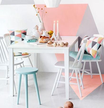 """Snyggt målad vägg, inspiration från """"Trendenser"""" Frida Ramstedt."""