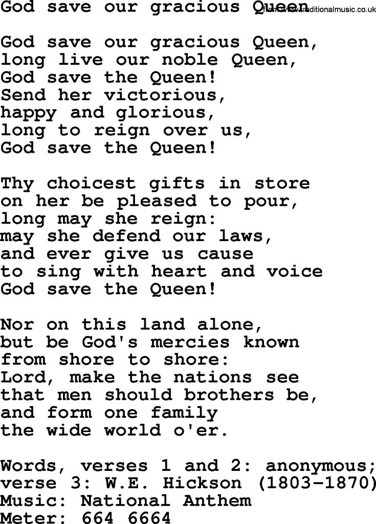 "~ God Save Our Gracious Queen lyrics ~ uses the same melody as ""Our Country Tis of Thee"" ~"