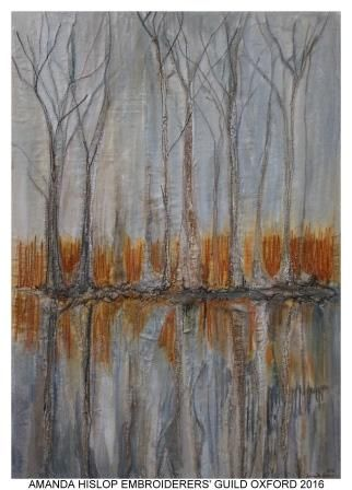 """Winter Reflections"" by Amanda Hislop, Oxford branch of Embroiderers' Guild. Part of ""Celebrating 300 years of Capability Brown"" exhibition at Blenheim Palace (Feb-May 2016) and Riverhouse Barn Art Centre (20 July - 29 Aug 2016). Exhibitions held as part of the UK's Capability Brown Festival"