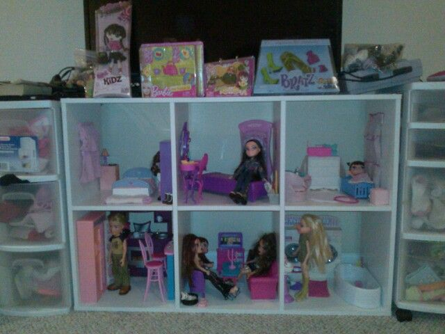 Bratz Dollhouse I Made For Two Little Girls Used A 6 Cube Storage Shelf From Target DIY Bookcase Dollhou