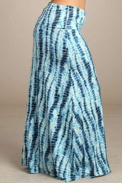 PLUS SIZE BAMBOO MINERAL WASHED TIE DYE FULL LENGTH MAXI SKIRT WITH FOLD OVER WAISTBAND