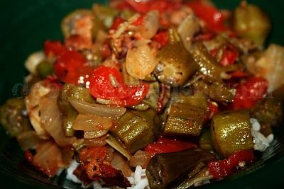 Southern Okra and Tomatoes - A southern favorite, okra is sliced and cooked in bacon drippings, then stewed with Vidalia onion, garden tomatoes and a can of Rotel tomatoes for a little kick.