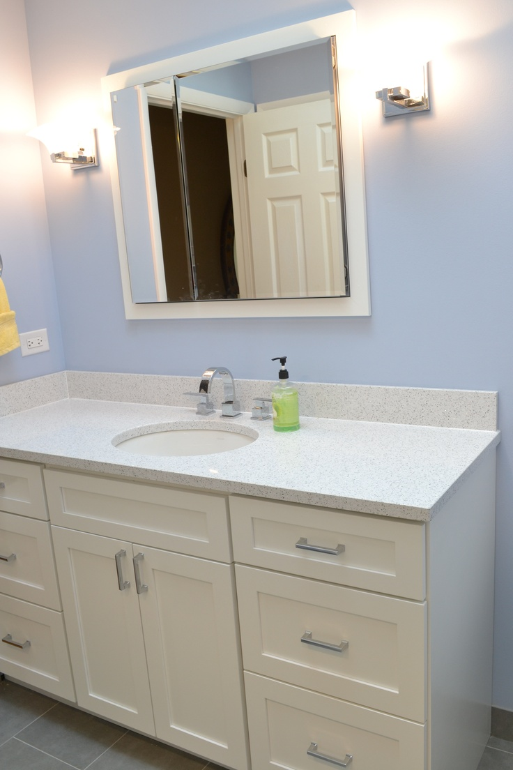 Cambria Quartz Color Whitney Paired With Painted White Vanity Cabinets Trilogy Bathroom