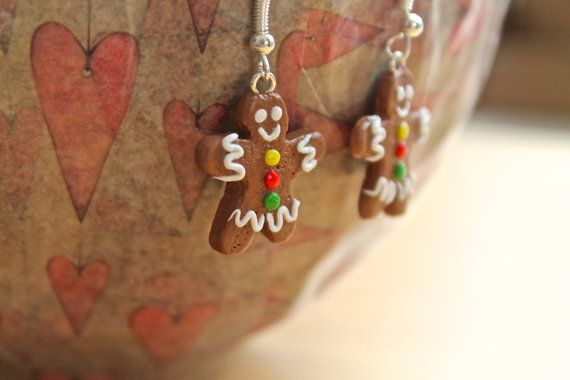 Handmade Gingerbread Man Earrings made to order by TheArtyHedgehog