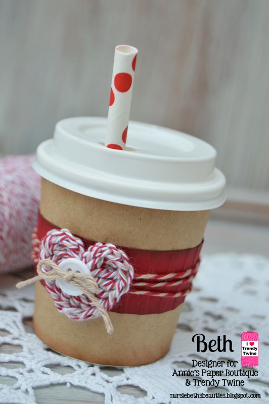 Beth's Beauties: Trendy Twine-Mini Coffee Cup Packaging #anniespaperboutique using Cherry Latte, Krazy for Kraft and Krafty Red #trendytwine