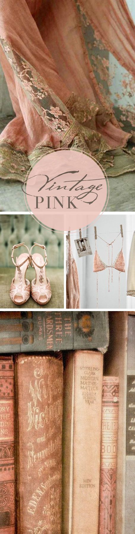 vintage-pink-inspired-Love this color of pinky/corally...Am gonna try to find some books like these! They're beautiful!