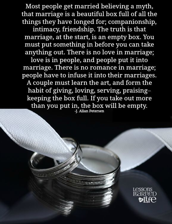 Lessons Learned in Life   Marriage box.