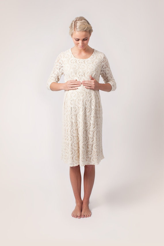 Cream Maternity Romance Dress