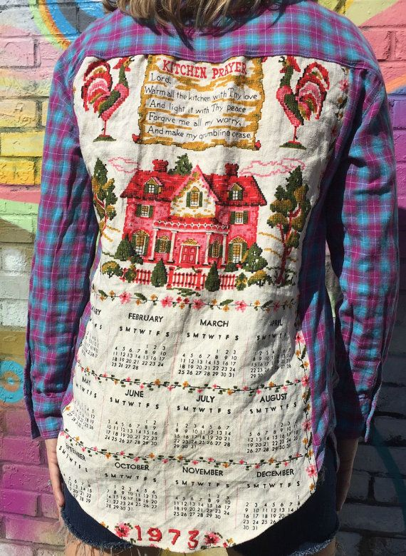 Upcycle Retro Tea Towel Flannel Shirt. Unisex Retro Flannel Shirt. Si6I6G
