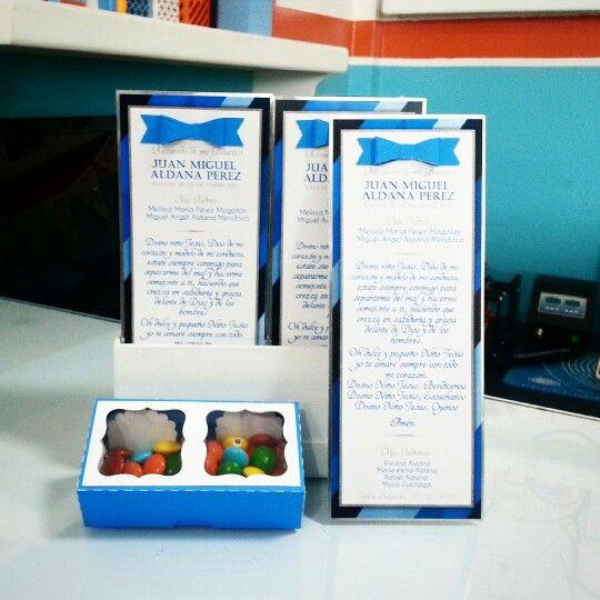 Tarjeta y cajita de dulces para recuerdo... #candybar #dulces #recuerdo #nacimiento