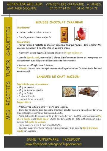 Mousse au chocolat carambar Langues de chat maison