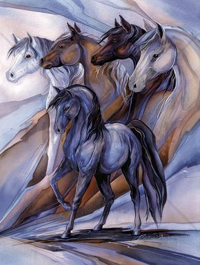 Inspired by the Five Horses - Canvas-taulut (maalaus) - Photowall