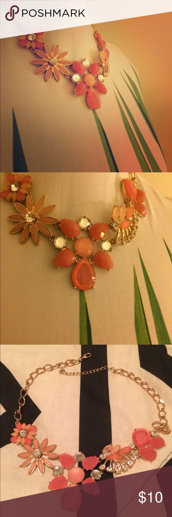 Coral Statement Necklace Never worn, no tags. Coral and rhinestone. Not positive on original brand, I believe it's Charlotte Russe. Charlotte Russe Jewelry Necklaces