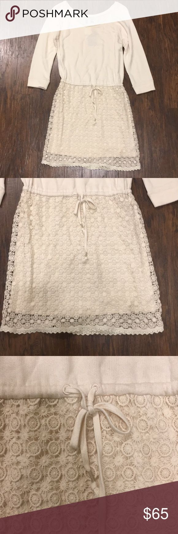 SALE NWT Anthropologie Saturday Sunday Dress NEW WITH TAGS Anthropologie Saturday Sunday cream dress. Gorgeous eyelet lace detailing on bottom half of the dress. Top half is soft jersey type material. Dress is lined in polyester. Drawstring waist. Size medium. Perfect for fall and winter! Anthropologie Dresses