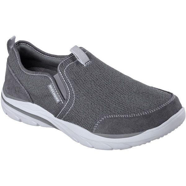 Skechers Men's Relaxed Fit: Corven - Horst Gray - Skechers ($65) ❤ liked on Polyvore featuring men's fashion, men's shoes, men's loafers, grey, mens mesh shoes, mens slip on loafers, skechers mens shoes, mens woven shoes and mens loafers