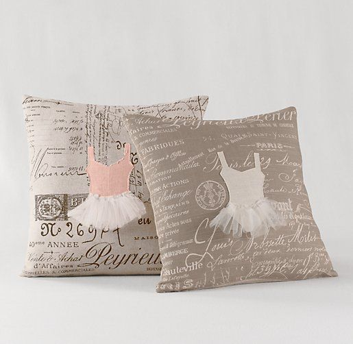 Throw Pillows Rust : Appliqued Ballerina Decorative Pillow Cover & Insert Decorative Pillows Restoration Hardware ...