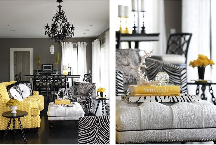 gray, white and black interior with pops of yellow