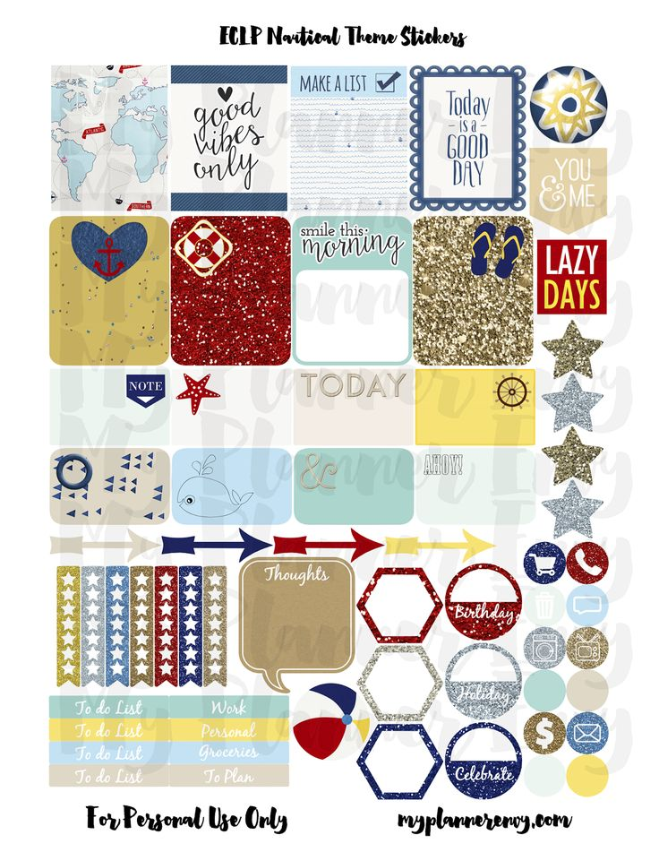Free Printable Nautical Theme Planner Stickers  {PDF, JPG and Studio3.  For The Happy Planner and Erin Condren} from myplannerenvy.com