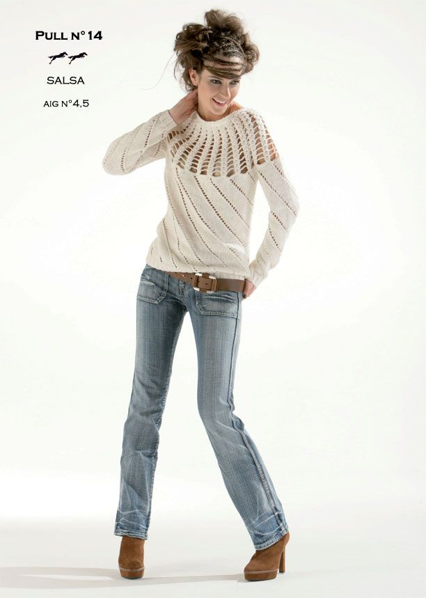 Laines Cheval Blanc Modèle de tricot - Pull femme - Catalogue Cheval Blanc n°12 - Laine utilisée : SALSA
