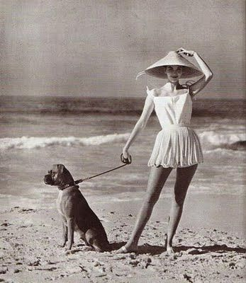 Two of my faves - vintage swim wear and a doggie.  :)