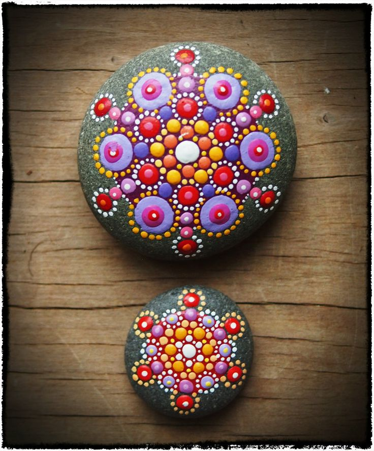 Jewel Drop Mandala Stones- Sunset duo.
