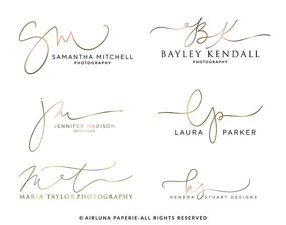 Benutzerdefinierte Kalligraphie Initialen Logo, handschriftliche Fotografie-Initialen-Logo-Design