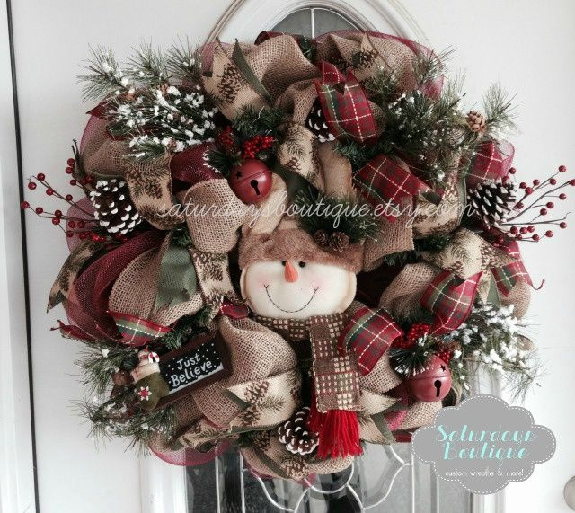 Country Christmas Snowman Wreath Was Made Out Of Deco Mesh