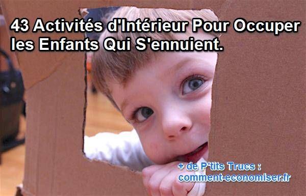 Même si cela peut paraître tentant de mettre vos enfants devant la TV ou l'iPad, il existe des solutions bien plus amusantes pour les occuper ! :-)  Découvrez l'astuce ici : http://www.comment-economiser.fr/43-activites-d-interieur-pour-occuper-enfants-qui-s-ennuient.html?utm_content=buffera438b&utm_medium=social&utm_source=pinterest.com&utm_campaign=buffer