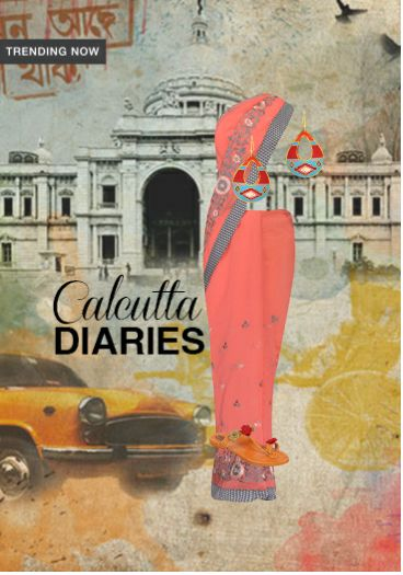 'Calcutta Diaries' by me on Limeroad featuring Pink Sarees with Multi Color Earrings