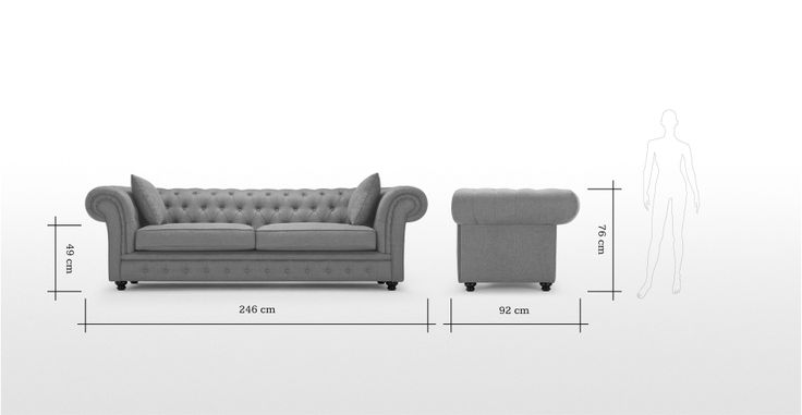Branagh 3 Seater Grey Chesterfield Sofa | made.com