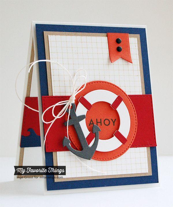 Go Overboard, Grid Background, Horizontal Stitched Strips Die-namics, Let's Get Nautical Die-namics, Making Waves Die-namics, Stitched Circle STAX Die-namics - Inge Groot #mftstamps