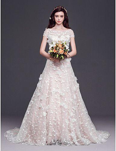 A-line/Princess Scoop Court Train Tulle Wedding Dress