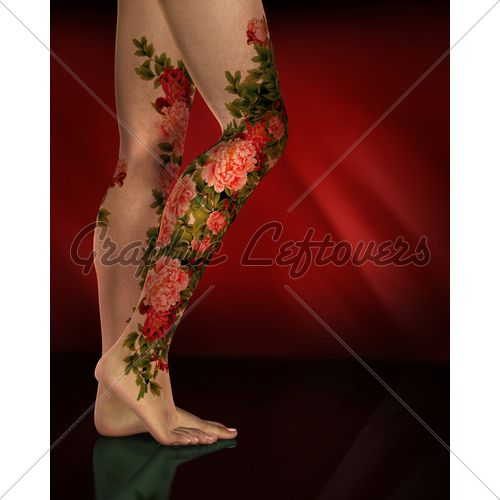 realistic flower Tattoo | Female Legs With Red Flower Tattoos Or Body Art...