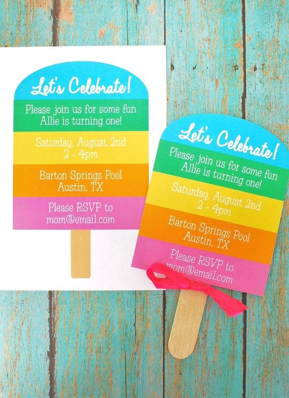 Rainbow Popsicle Birthday Invitation - Custom PRINTABLE Popsicle DIY Party Invitation - by anna and blue paperie